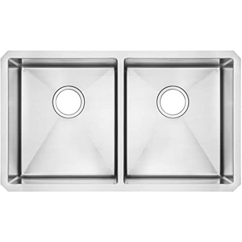 American Standard 18DB.9291800.075 Pekoe Undermount 29x18 Double Bowl Kitchen Sink with Included Drain & Bottom Grid, Stainless - American Standard Console