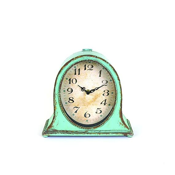 Creative Co-op Metal Aqua Finish Mantel Clock - Metal construction Requires 1AA battery (not included) Back is flat and has the same color as the front - clocks, bedroom-decor, bedroom - 41vPvnWkN3L. SS570  -
