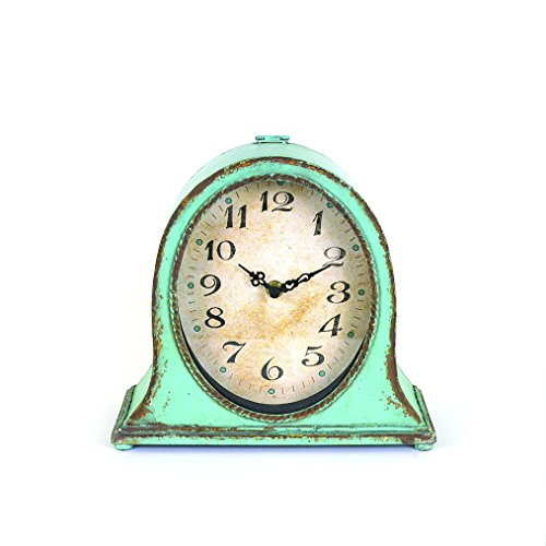 Cheap Creative Co-op DA3826 Metal Mantel Clock with Aqua Finish