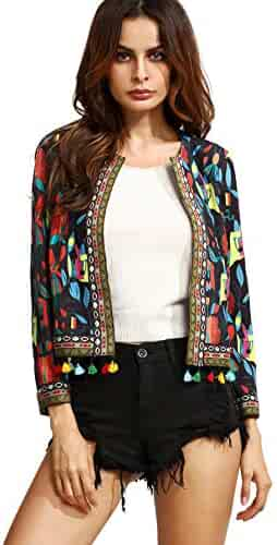 477fa26db3 SheIn Women's Casual Long Sleeve Ethnic Cardigan Print Jacket Open Front  Blazer