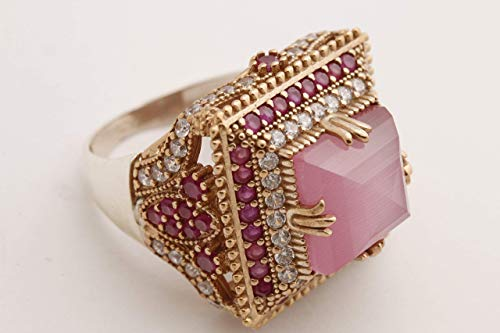 Turkish Handmade Jewelry Square Shape Pink Cat's Eye and Round Cut Pink Ruby Topaz 925 Sterling Silver and Bronze Ring Size Options