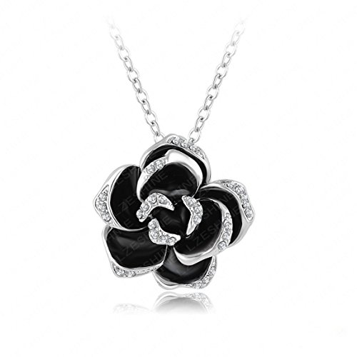 Black Diamond Elephant (Mayfun Black Enamel Rose Shaped Full Faux Diamond Pendant Necklace for Women Girls 2 Tones Available (Silver))