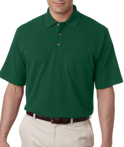 (UltraClub Men's Classic Pique Polo Short Sleeve Shirt with Pocket, X-Large - Forest Green)