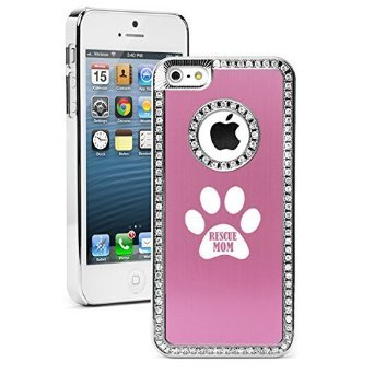 Apple iPhone 6 6s Rhinestone Sparkle Crystal Diamond Bling Hard Case Cover Paw Print Rescue Mom (Pink)