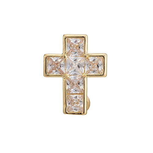 - Qiu Shi Women Navel Nail Sparkly Crystal Holy Cross Gold Plated Brass Navel Bar Body Piercing Jewellery