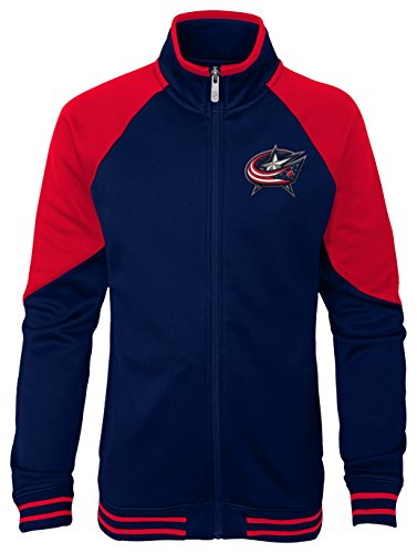 Outerstuff NHL Columbus Blue Jackets Youth Girls Faceoff Full Zip Jacket, Small(7-8), True Navy