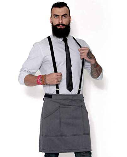 (Half Armor Gray Apron with Durable Twill - Bistro Apron, Waist Apron adjustable for Men and Women - Professional Barista, Bartender, Mixologist, Florist, Server Aprons)