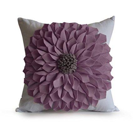 Amore Beaute Handmade Purple Felt Flower Pillow Cover White Cotton Pillow Case Floral Felt Throw Decorative Pillow Cover…