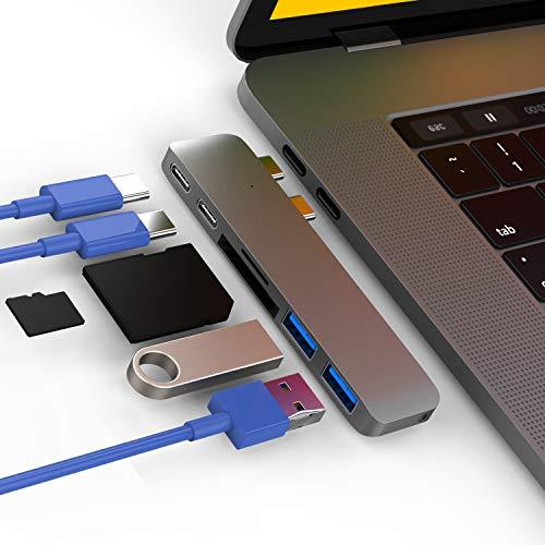 CharJenPro MacStick USB C Hub for MacBook Pro 2016-2019, MacBook Air 2018-2019, 100W Power Delivery, Thunderbolt 3 5K@60Hz, 2 USB 3.0, Micro SD and SD Card Reader, USB C Port, USB-C Hub