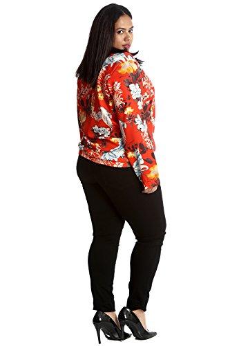 Size Womens Nouvelle Oriental Bomber Orange Plus Jacket Collection Print qqZw4g