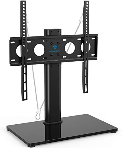 Universal TV Stand - Table Top TV Stand for 32-47 Inch LCD LED TVs - Height Adjustable TV Base Stand with Tempered Glass Base & Wire Management & Security Wire, Holds Up to 88lbs, VESA 400x400mm (Apex Tv Base Stand)