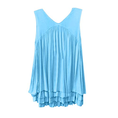OrchidAmor 2019 Women Summer Fashion Casual Loose V-Ncek T Shirt Solid Color Sleeveless Tank Top Blue
