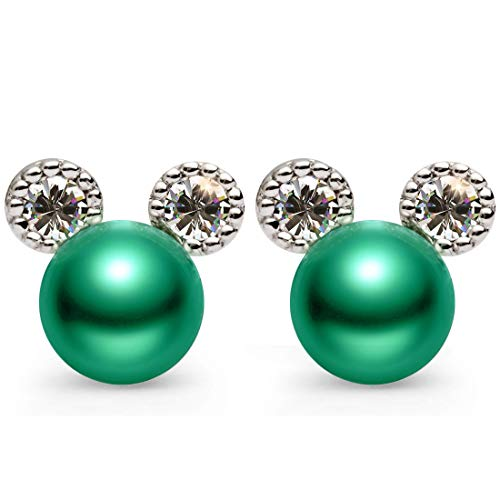 - Green Pearl Stud Earrings for Women,Hypoallergenic 7mm CZ Cute Mouse Stainless Steel Earrings,Mother's Day Jewelry Gift(Green Colors)