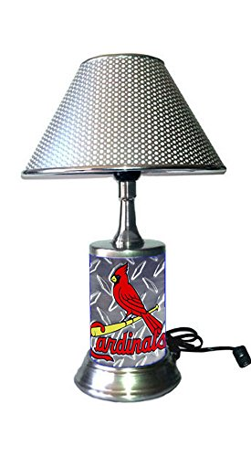 JS Table Lamp with Chrome Colored Shade, Your Favorite Team Plate Rolled in on The lamp Base, Base Wrapped with Diamond Metal Plate, SLC, ()