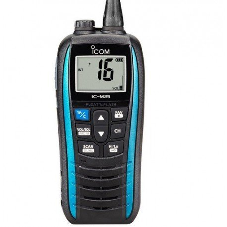 Blue Icom M25 Waterproof Handheld VHF Marine Radio
