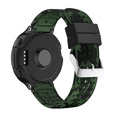 Lisin Replacement Wrist Band Silicagel Soft Band Strap For Garmin Forerunner 235 GPS Watch (Army green Camouflage)