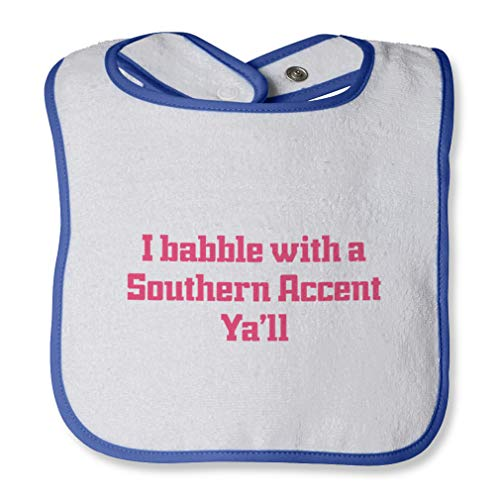I Babble With A Southern Accent Ya'Ll Cotton Boys-Girls Baby Terry Bib Contrast Trim - White Royal Blue, One Size