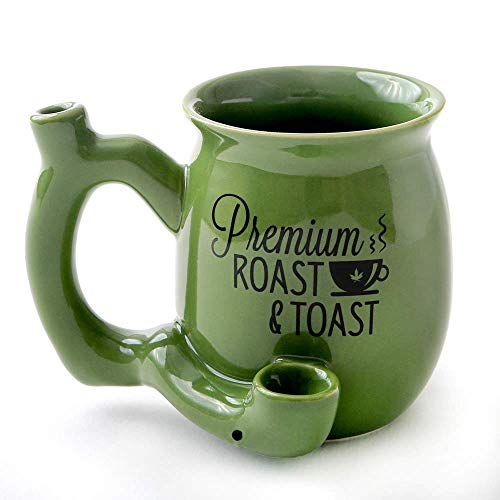 FASHIONCRAFT Premium Roast and Toast Novelty Mug Green with Black Print, Ceramic Coffee Mug (Marijuana Bowls)