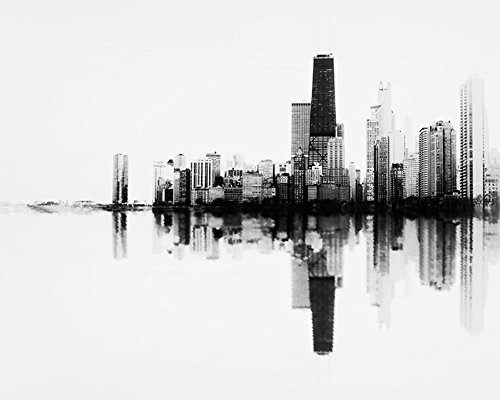 ''Soundwave in Black and White'' Abstract Photograph of the Chicago Skyline Unframed Lustre Print by Tracey Capone Photography