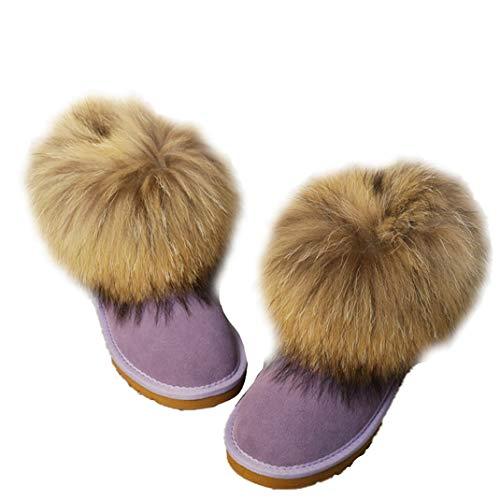 Mapache Cortas Slip Calientes Genuino Púrpura De Invierno Piel Cuero on Botas Las Del Mujeres Natural Zorro Nieve ZTx1ywA6q