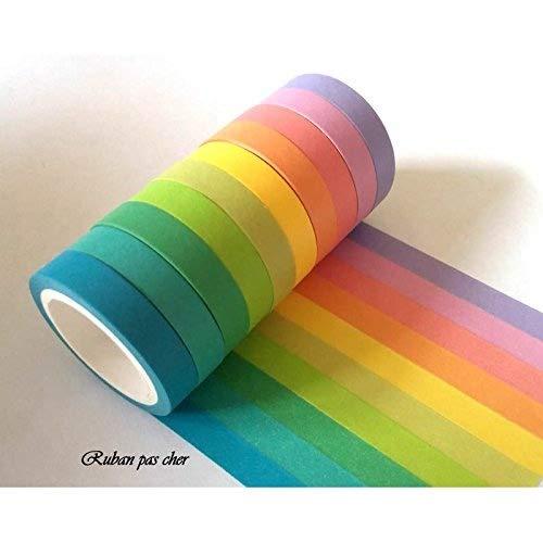 Lot de 10 rubans Masking-tape coloris unis Rubanpascher.com 3700986300008
