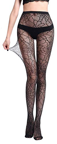 Pareberry Women's High Waisted Fishnet Tights Sexy Wide Suspender Pantyhose Thigh-High Fishnet Stockings (Black-WK01)