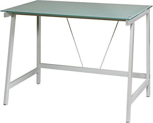 Top Frosted Glass (OneSpace Contemporary Glass Writing Desk, Steel Frame, White and Cool Blue)