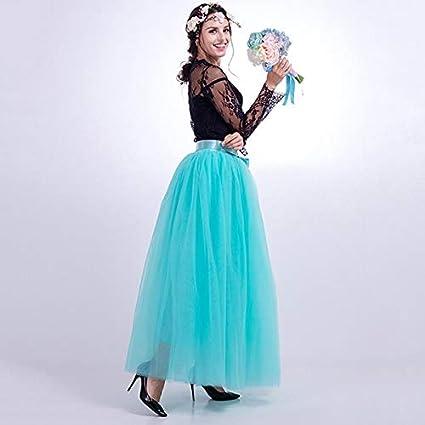 NVDKHXG 7 Capas 100 cm Faldas Largas de Tul para Mujer Falda ...
