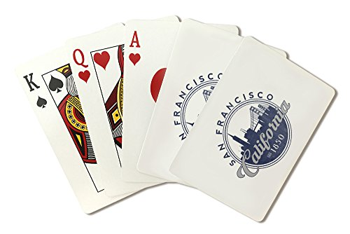 San Francisco, California - Skyline Seal (Blue) (Playing Card Deck - 52 Card Poker Size with ()