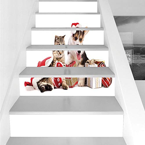 Stair Stickers Wall Stickers,6 PCS Self-adhesive,Christmas,Dog and Cat in Santa Hats with Surprise Boxes and Balls New Year Celebration Decorative,Red White Brown,Stair Riser Decal for Living Room, Ha