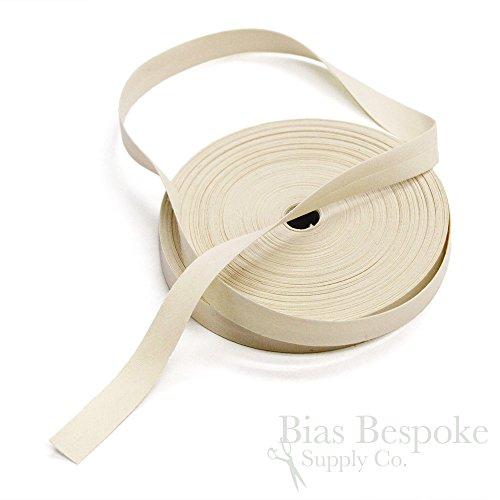 5/8 Inch Light Cream (100% Cotton Cream-Colored Single Fold Bias Tape, 27 Yard Roll, Made in Italy)