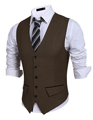 PEATAO Men's Suit Vest, V-Neck 5 Button Slim Fit Formal Business Casual Waistcoat, Brown, Large ()