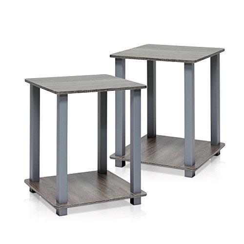 Furinno Simplistic End Table, French Oak Grey/Grey (Door Glass Nightstand)