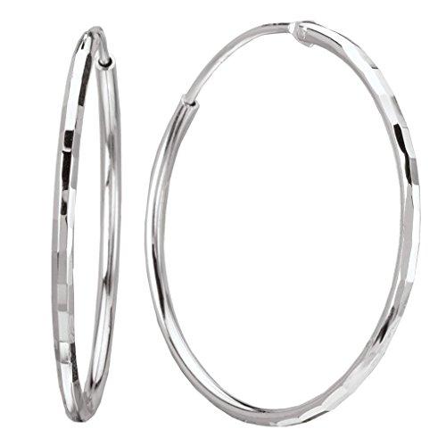 925 Sterling Silver Thin Faceted Hoop Earrings 2mm x 55mm (Hoop 55mm)