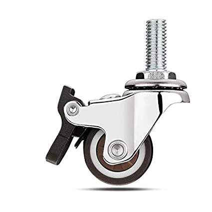 Heavy Duty Swivel Casters Wheel with Threaded Rods Silent Rubber Wheels for Office Furniture Replacement Wheels Industrial Casters Each Bearing 15kg 25mm 1 Pack Of 4