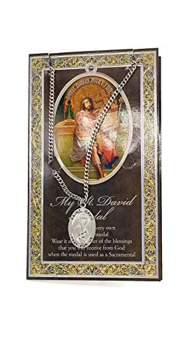 (33 5/18) Saint David Genuine Pewter Medal with Stainless Chain & Prayer Cardw Copyrighted Paul Herbert Blessing PATRONA ()