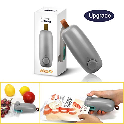 Bag Sealer Plastic - ColorGo Potato Chip Bag Sealer, Handheld Mini Heat Resealer Machine For Plastic Food Storage Gray [Upgrade Version & Patent Protect]