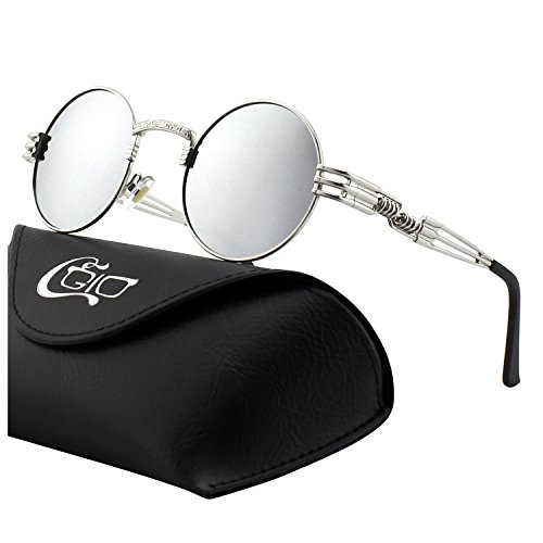 CGID E73 Retro Steampunk Style Inspired Round Metal Circle Polarized - Accesories Sunglasses
