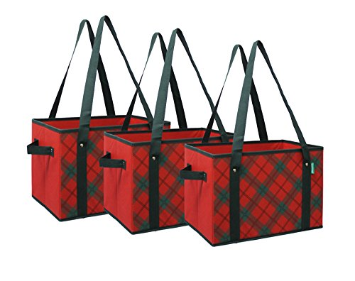 Earthwise Reusable Grocery Bag Shopping Box Tote COLLAPSIBLE BAG with Reinforced Bottom in Plaid (Set of 3) (Box Bag Tote)