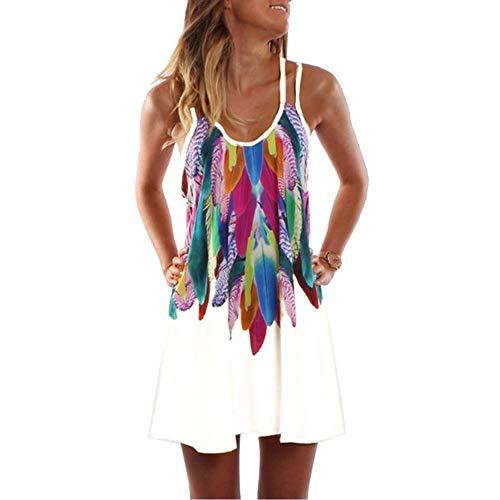 spyman Dress Women Bohemian Dress Feather Printed Beach Dresses Strap Short Summer Plus Size,4XPlus,White