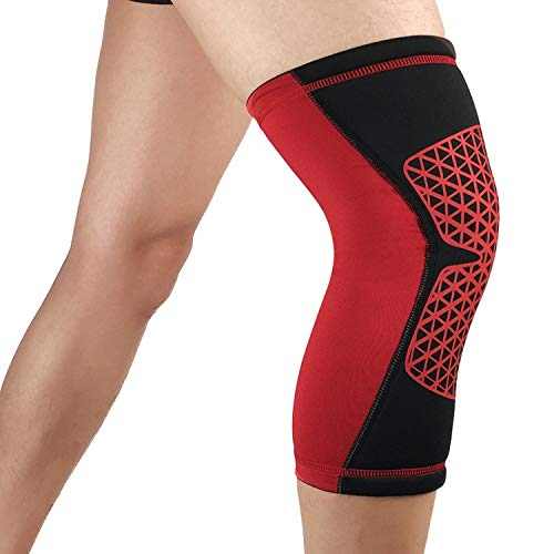 1Pcs Spandex Knee Pad Badminton Running Fitness Support Brace Sports Safety Kneepad Sleeve,Red,M