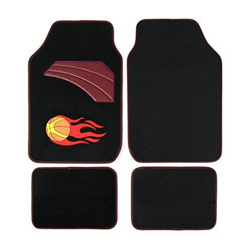 (Copap Full Set Carpet Floor Mats 4pcs Universal Fit Mat for Car SUV, Van & Trucks Driver & Passenger Seat Front & Rear Floor Mats (Black) Basketball pattern)