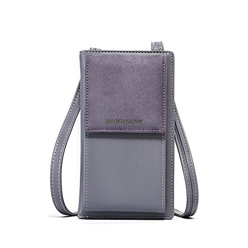 Small Crossbody Bag for Women,PU Leather Cell Phone Purse Wallet with Credit Card Slots for Women,Grey ()