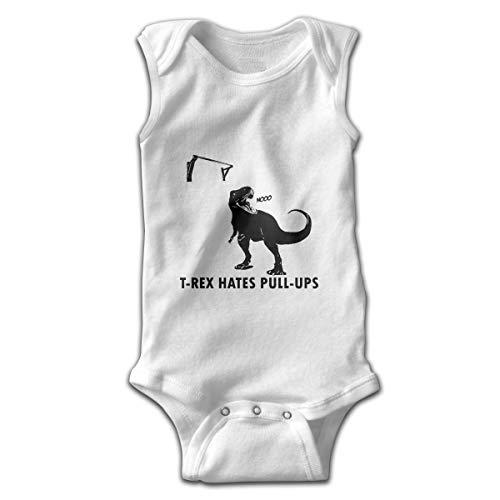 (Infant Baby Boy's Rompers Sleeveless Cotton Onesie,T-Rex Hates Pushups Bodysuit Autumn Pajamas)