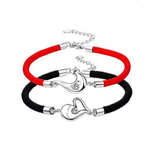 lry Heart-to-Heart Love Love Couple Bracelet A Pair of Men and Women Jewelry Red Rope Bracelets Europe and The United States Fashion Bracelet Bracelet (Color : White) ()