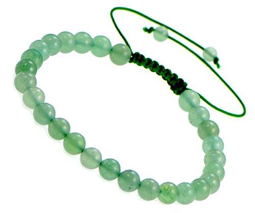 AD Beads Natural 6mm Gemstone Bracelets Healing Power Crystal Macrame Adjustable 7-9 Inch (18 Green Aventurine)