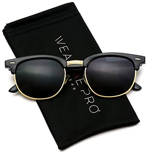 (Polarized Clubmaster Classic Half Frame Semi-Rimless Rimmed Sunglasses,Black / Gold)