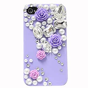 Pearl Diamond Flowers Pattern Hard Case for iPhone 4/4S