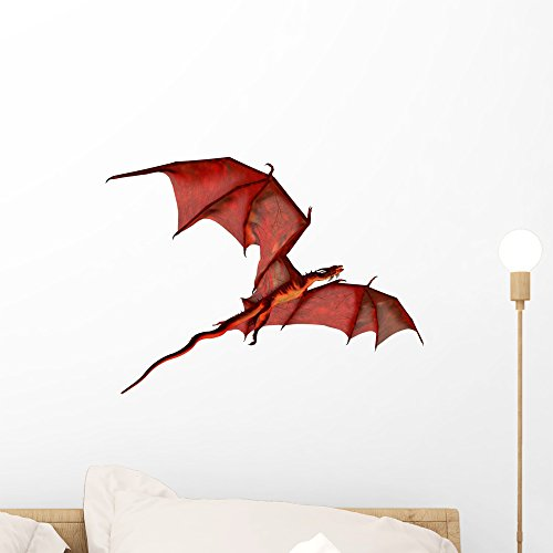(Wallmonkeys Flying Red Dragon Wall Decal Peel and Stick Graphic WM7664 (18 in W x 14 in H))
