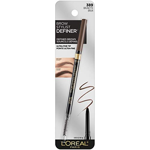L'Oreal Paris Makeup Brow Stylist Definer Waterproof Eyebrow Pencil, Ultra-Fine Mechanical Pencil, Draws Tiny Brow Hairs & Fills in Sparse Areas & Gaps, Brunette, 0.003 Ounce (1 Count)